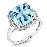 10K White Gold Sky Blue Topaz and White Diamond Ring (8.54 Ct Cushion Cut Center Stone: 12MM, Available in size 5, 6, 7, 8, 9)