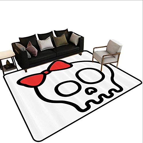 Living Room Rug Skulls Decorations Collection Illustration of Baby Skull Girl with Lace and Halloween Dead Head Teen Emo Art Non Toxic Carpet4'11 x6'10 Red White Black ()