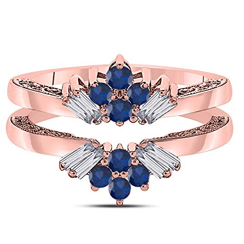(Star Retail 14k Rose Gold Plated Dazzling Sunburst Prong Set Round & Baguette Enhancer Ring Guard with CZ Blue Sapphire (0.38 ct. tw.))