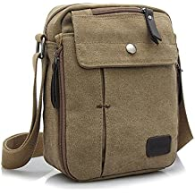 Ecokaki(TM) Canvas Small Messenger Bag Casual Shoulder Bag Travel Organizer Bag Multi-pocket Purse Handbag Crossbody Bags, Khaki by Ecokaki