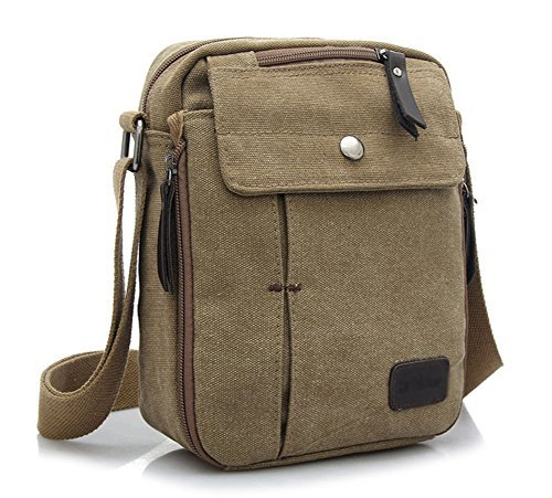 Ecokaki(TM) Canvas Small Messenger Bag Casual Shoulder Bag Travel Organizer Bag Multi-pocket Purse Handbag Crossbody Bags, Khaki by Ecokaki by Ecokaki