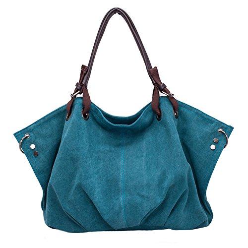Naovio Women Canvas Handbag Oversized Lined Shoulder Bag Fashion Totes,Blue