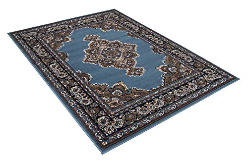 Maxstock Taj Mahal Collection Persian Traditional Design Rectangular Area Rugs -Light Blue/Ivory/Mocha/Black/Beige (8 Feet x 10 ()