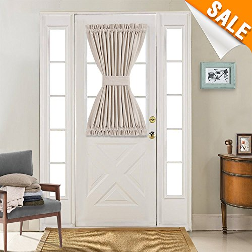 Light Reducing French Door Panel Curtains Thermal Insulated Linen Textured Look French Door Curtains 1 Tie Back Included, (1 Piece, 40 Inch, (Included Windows)