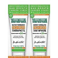 TheraBreath - Pasta de dientes con aliento fresco - Fórmula anti-cavidad - Reduce el sarro - Detiene el mal aliento - No contiene sabores o detergentes artificiales - Sabor a menta suave - 4 oz. Tubos - Paquete de dos