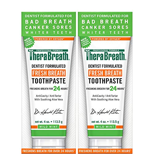 TheraBreath – Fresh Breath Toothpaste – Anti-Cavity Formula – Reduces Tartar – Stops Bad Breath – No Artificial Flavors or Detergents – Mild Mint Flavor – 4-oz. Tubes – Two-Pack by TheraBreath