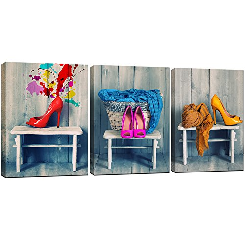 KLVOS 3 Panel Coloful Framed Canvas Art Prints Fashion Red Pink Yellow High Heel and Blue Scarf Still Life Picture Moderm Home Decoration Girl Living Room Wall Art Ready to - Pink Art Print Yellow