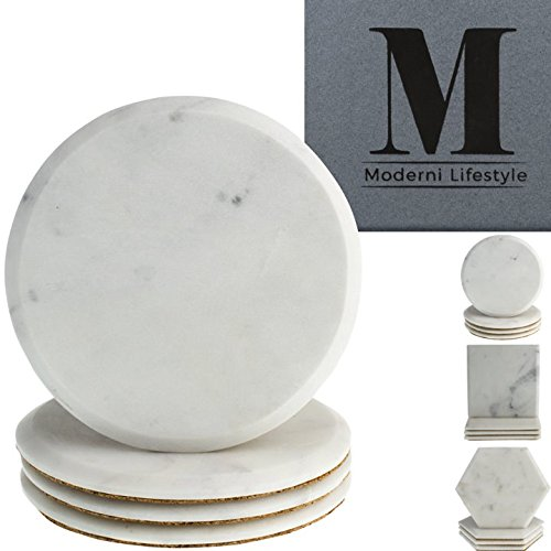 Premium Marble Coasters - World Class Quality Makrana Marble by Moderni Lifestyle - Round, Square & Hexagonal Designs - Protective Cork Backing - Luxury Gift Box Set Of 4-4 inch 10cm diameter