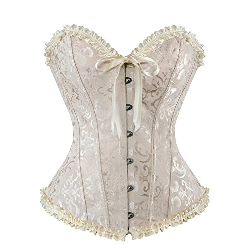 Victorian Corset Costumes (AIZEN Halloween Bustier Corsets For Women Plus Size Victorian Brocade Pattern Lace Through Top Beige M)