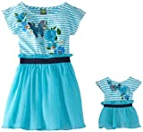 Dollie & Me Little Girls' Butterfly Striped Dress With Doll Outfit