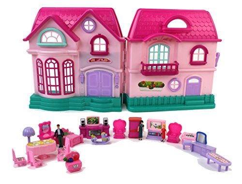 y House Toy Dollhouse Playset w/ Double Sided House, Sounds, 3 Doll Figures, & Furniture ()