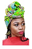 Bright Green Multicolor African Print Headwrap One Size