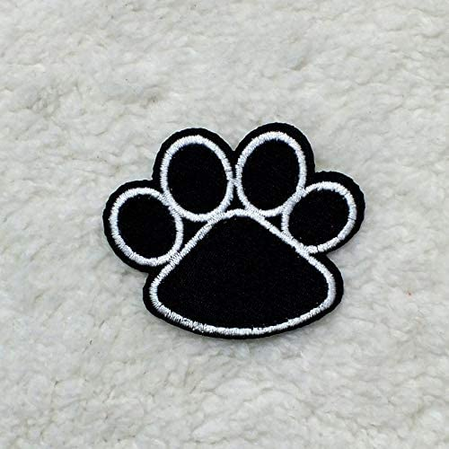 Patches 5pcs//lot Black Dog Paw Prints Patches For Clothes Iron On Embroidered Fabric Cartoon Logo Applique DIY Apparel Accessory
