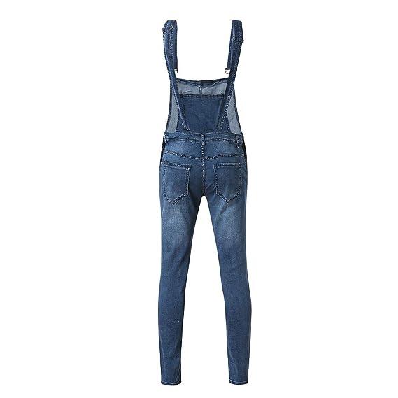 VECDY Hosen Herren Overall Casual Jumpsuit Jeans Waschen Gebrochene Hosentasche Hosenträgerhose Jeanshose Freizeit Hosen Lose