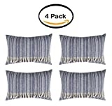 PACK OF 4 - Better Homes and Gardens Fringed Blue Denim Decorative Pillow