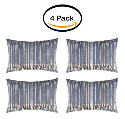 PACK OF 4 - Better Homes and Gardens Fringed Blue Denim Decorative Pillow by Better Homes & Gardens