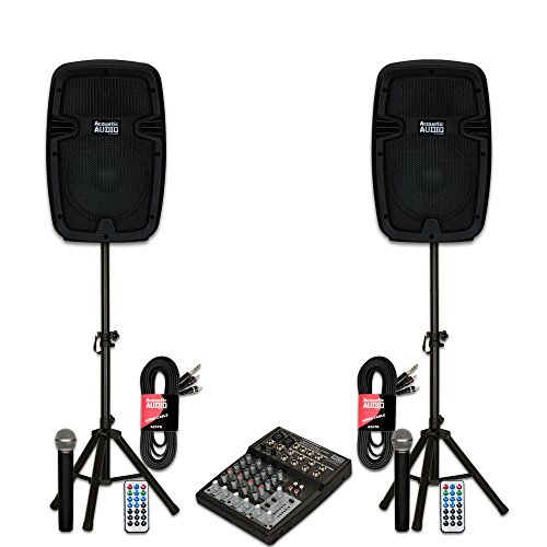 [Acoustic Audio AA8B Powered 1200W Bluetooth Speakers with Batteries Mixer Wireless Mics and Stands] (Portable Mic Preamp)