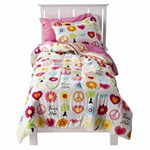 Circo Full Bed in a Bag Peace Sign Girl Comforter Set Sheets Shams 7 pc