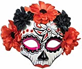 Female Day of the Dead Mask with Flowers on Glasses (Red)