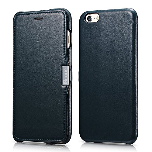 iPhone 6s / 6 Case, Benuo [Luxury Series] [Slim Style] Genuine Leather Folio Flip Corrected Grain Leather Case with Magnetic Closure for iPhone 6 / iPhone 6s 4.7 inch (Navy Blue) (Leather Flip Case)