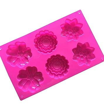 Kangqi Moldes de jabón 6 Flores de Silicona Hecho a Mano Galleta Molde de Pastel de