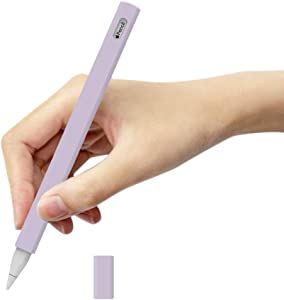 for Apple Pencil Silicone Holder Sleeve for 2nd Generation Protective Skin Cover Magnetic Full Body case Non-Slip Smooth Grip Simple Triangle Design Accessories with Pencil Tip Cover 2nd Purple