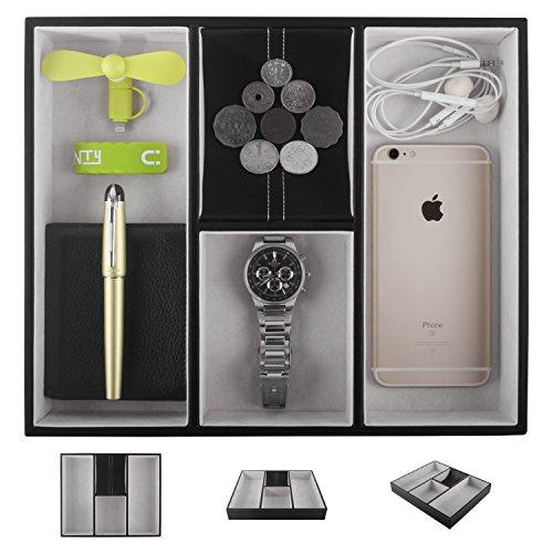 Leather Valet Tray for Men, Nightstand Organizer Dresser Catchall for Keys Phone Jewelry Watch ()