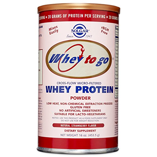 Solgar Whey To Go Protein Powder Natural Strawberry Flavor,