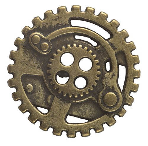 Doctor Who Costume Patterns (Steampunk Gears Button - Brass Finish - 7/8