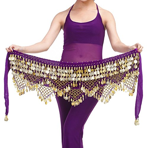 Pilot-tradeWomen's Sweet Bellydance Hip Scarf With Gold Coins Skirts Wrap Noisy (Belly Dancing Coin)