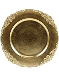 Koyal Wholesale Vintage Charger Plate, Gold (Pack of 4)