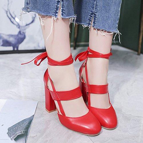 Donyyyy zapatos con tacón áspero ahuecado solo zapatos de mujeres Thirty-eight