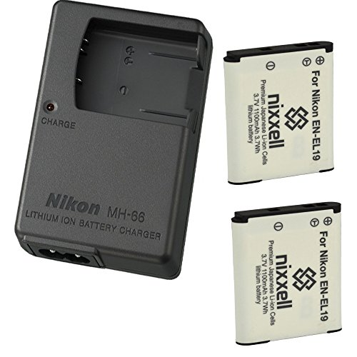 Nikon MH-66 Charger for Nikon EN-EL19 Coolpix S100, S3100, S3200, S3300, S3500, S3600, S3700, S4100, S4200, S4300, S5200, S5300, S6400, S6500, S6800, S6900, S7000 Digital Camera + 2 Bonus Battery!