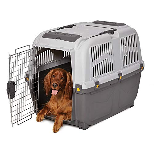 Midwest Skudo Plastic Travel Carrier for Dogs, 31.38″ L X 23.13″ W X 25.5″ H, Large, Gray