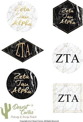 Zeta Tau Alpha Sorority Marble Sticker Decal Laptop Water Bottle Car (Full Sheet)