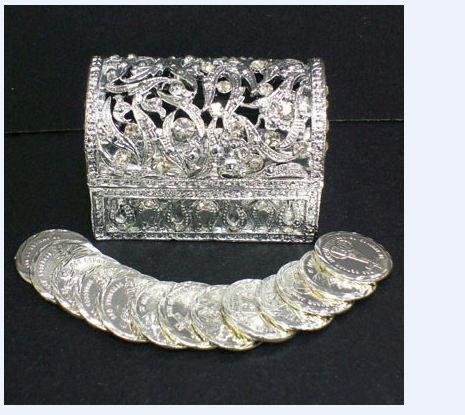 - Arras Treasure Chest Elegant Wedding Silver Treasure Chest 13 Silver Coins Included Boxed