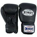 Auth Windy Muay Thai Gloves Kickboxing K1 Windy Boxing Gloves Leather Black BGVH - 6,8,10,12,14,16,18 Oz (12oz)