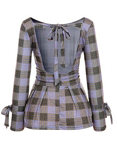 Beauty Collector Fit Open Back Top Blouse Women Long Sleeve Check Shirt Empire Waist Peplum ()