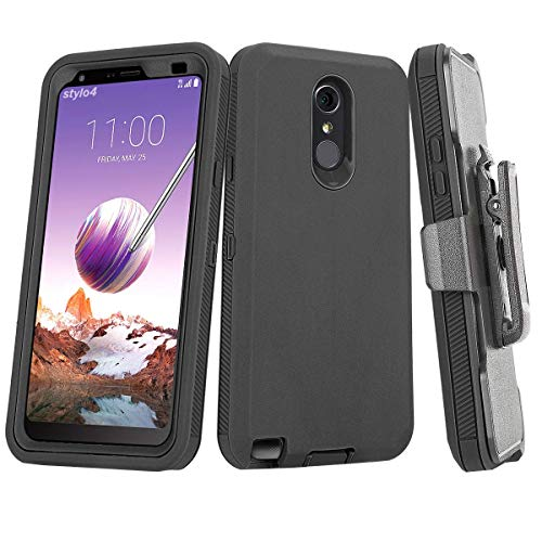 LG Stylo 4 Case, [Heavy Duty] Full-Body Resistant Rugged Shockproof Holster Belt Clip Cover with Built-in Screen Protector Kickstand for LG Stylo 4 / Stylo 4 Plus/LG Stylus 4 / LG Q Stylus