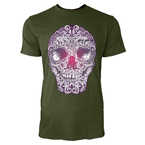 SINUS ART ® Totenkopf mit floralen Elementen Herren T-Shirts in Armee Grün Fun Shirt mit tollen Aufdruck