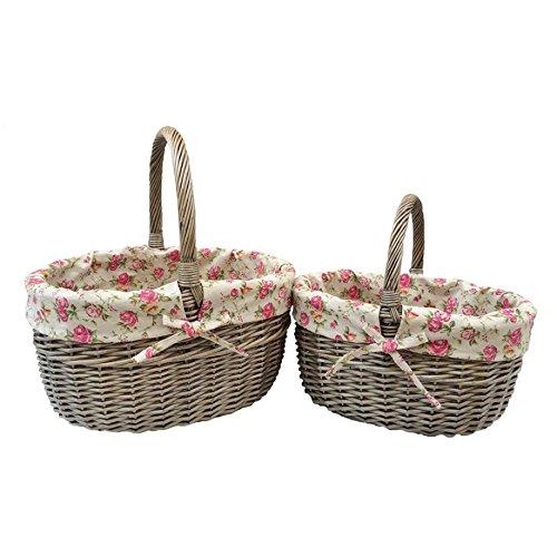 Set of 2 Rose Lined Antique Wash Hollander Shopping Basket Set