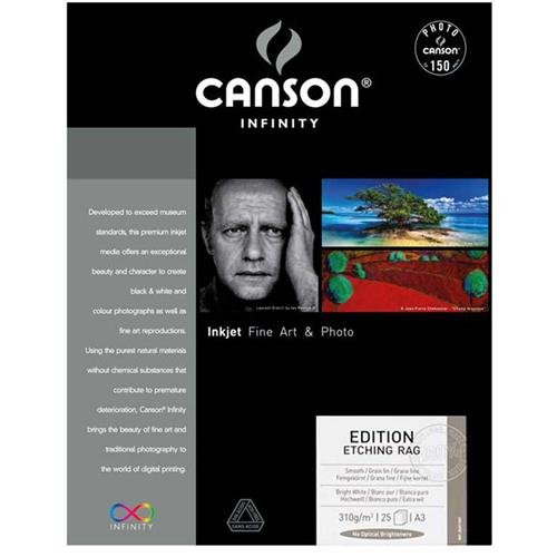 310gsm 100% Rag - Canson Infinity Edition Etching Rag 310gsm, natural white matte inkjet paper, A3+, box of 25 sheets