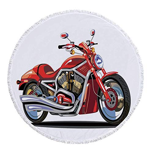 Engine Freedom (VAMIX Thick Round Beach Towel Blanket,Motorcycle,Super Sexy Motorbike with Vivid Color Properties Winged Engine Machine Freedom,Red Silver,Multi-Purpose Beach Throw£¬)