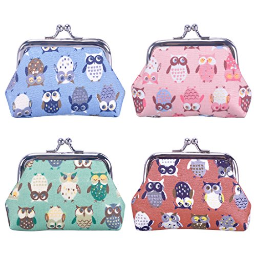 (Oyachic 4 Pack Kisslock Coin Purse Small Change Pouch Mini Wallet with Clasp Closure Animal Pattern Gifts for Women Girls (cute owl))