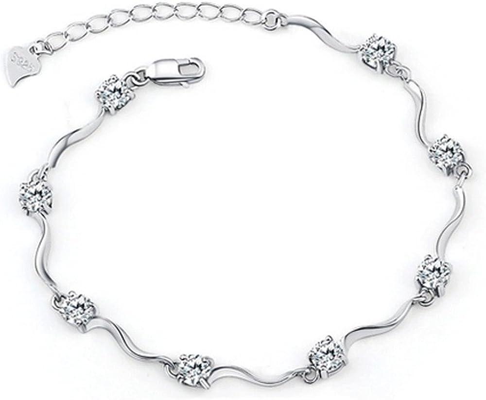 Tusuzik Señorías Swarovski Element Plata Cristal S925 Plata esterlina Pulseras con circonita Blanco Brillante