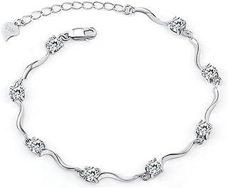 Braccialetti per donna/ragazza con cristalli Elemento Swarovski in argento sterling 925 con zirconi lucenti