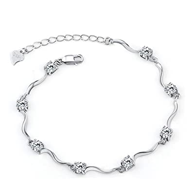 KUNEN Swarovski Elements Blue Crystal Interlocking Double Heart Bracelet with Sterling Silver Cubic Zirconia yqkgcHnE