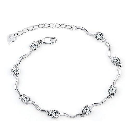 d2dfbeb3b74f Señorías Swarovski Element Plata Cristal S925 plata esterlina pulseras con  circonita blanco brillante para mujeres niñas  Amazon.es  Joyería