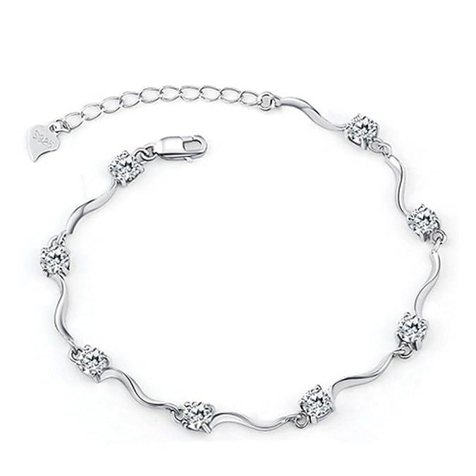 Señorías Swarovski Element Plata Cristal S925 plata esterlina pulseras con circonita blanco brillante para mujeres niñas