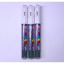 Uni Posca Paint Marker PC-1M White, 3 pens per Pack(Japan Import) [Komainu-Dou Original Package]